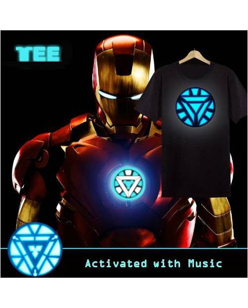 Tee Shirt Iron Man Lumineux LED